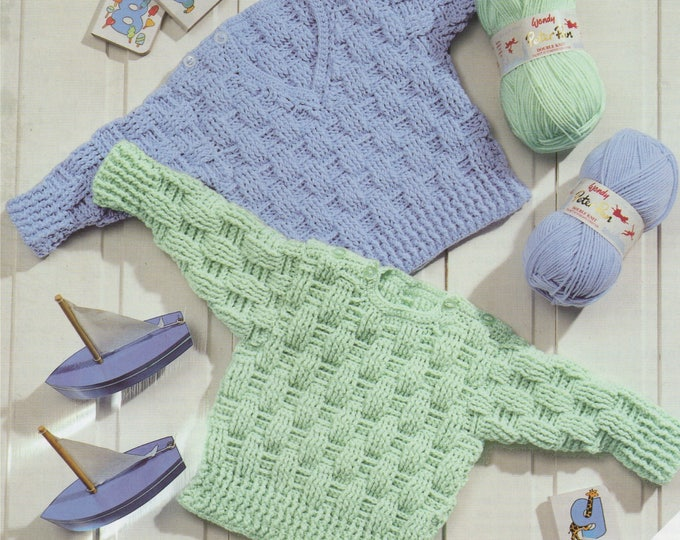 Babies Sweater Crochet Pattern PDF Premature Baby and Toddlers Boys or Girls 12, 14, 16, 18, 20 and 22 inch chest, Round and V neck Jumper
