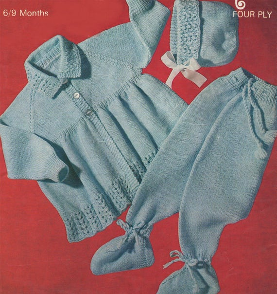 5d80004f6be0 Babies Matinee Coat Leggings   Bonnet Knitting Pattern PDF