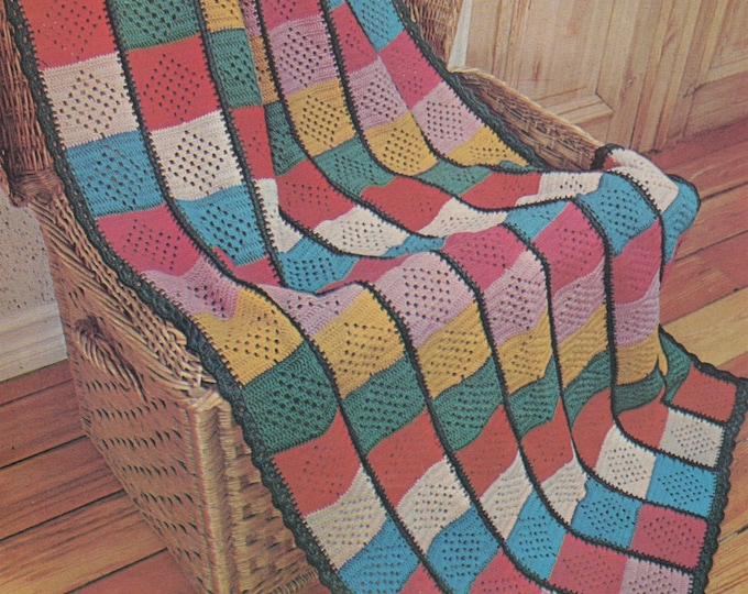 Blanket Crochet Pattern PDF Crochet Squares, Lap Rug, Throw, Afghan, Bedspread, Bed Cover, Vintage Crochet Patterns for the Home . Download