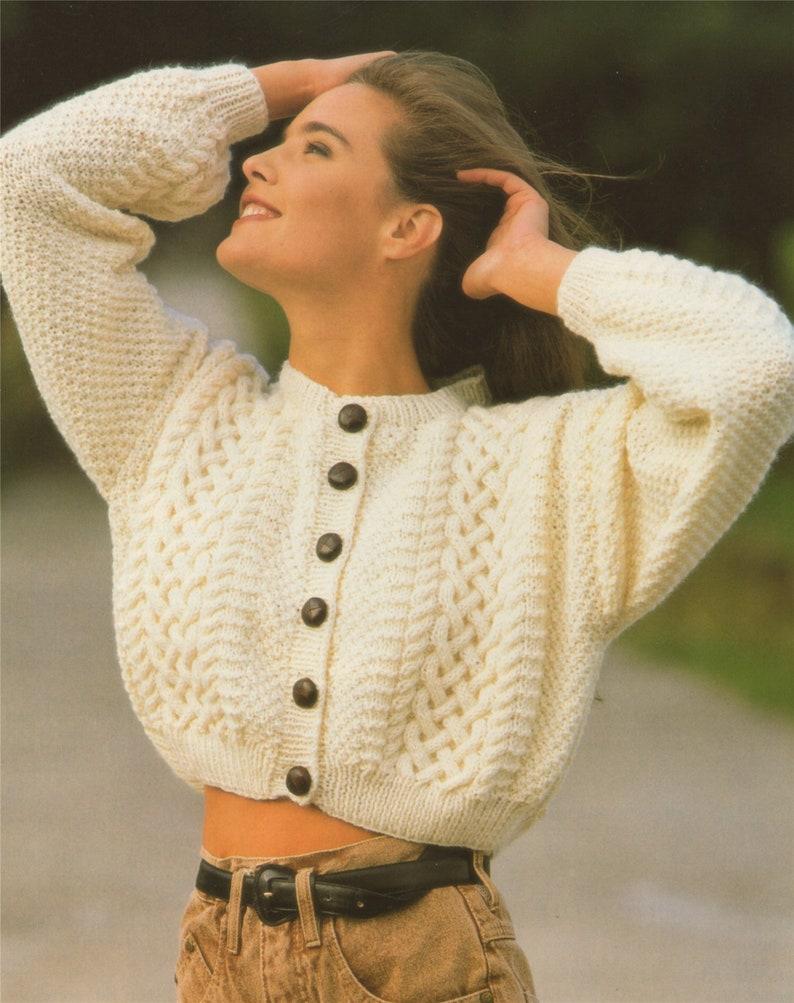 e899397cb Womens Aran Cardigan Knitting Pattern PDF Ladies 28 30 32