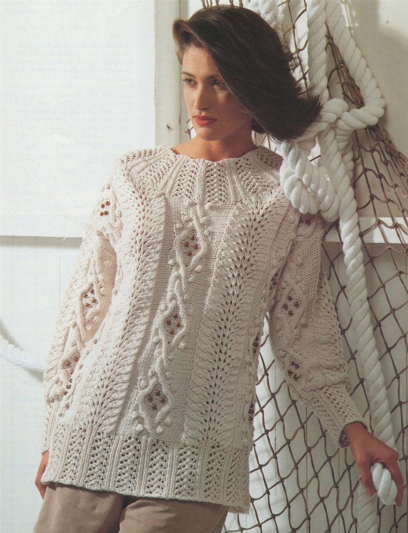 Ladies Aran Sweater Knitting Pattern PDF Womens 32 34 36  c62c06278f