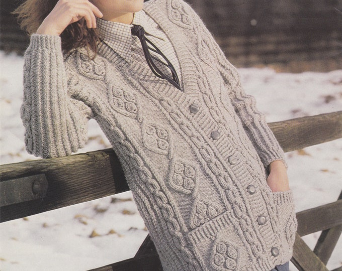 Womens Longline Cable Cardigan Knitting Pattern PDF Ladies 32, 34, 36, 38, 40, 42 inch chest, Plus Size, 10 ply Yarn, Vintage Knit Patterns