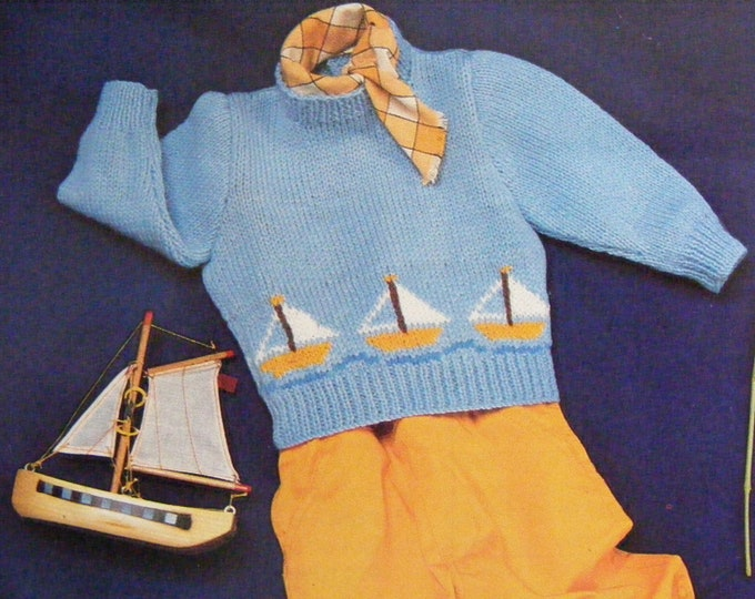 Babies / Toddlers Sweater with Boat Motif Knitting Pattern PDF Boys or Girls 17, 18 and 19 inch chest, Vintage Knitting Patterns for Baby