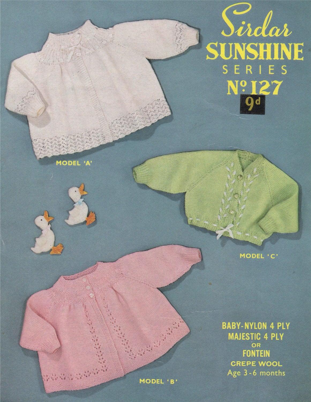 78c735e4b Babies Matinee Coat and Cardigan Knitting Pattern PDF Baby Girls 19 ...