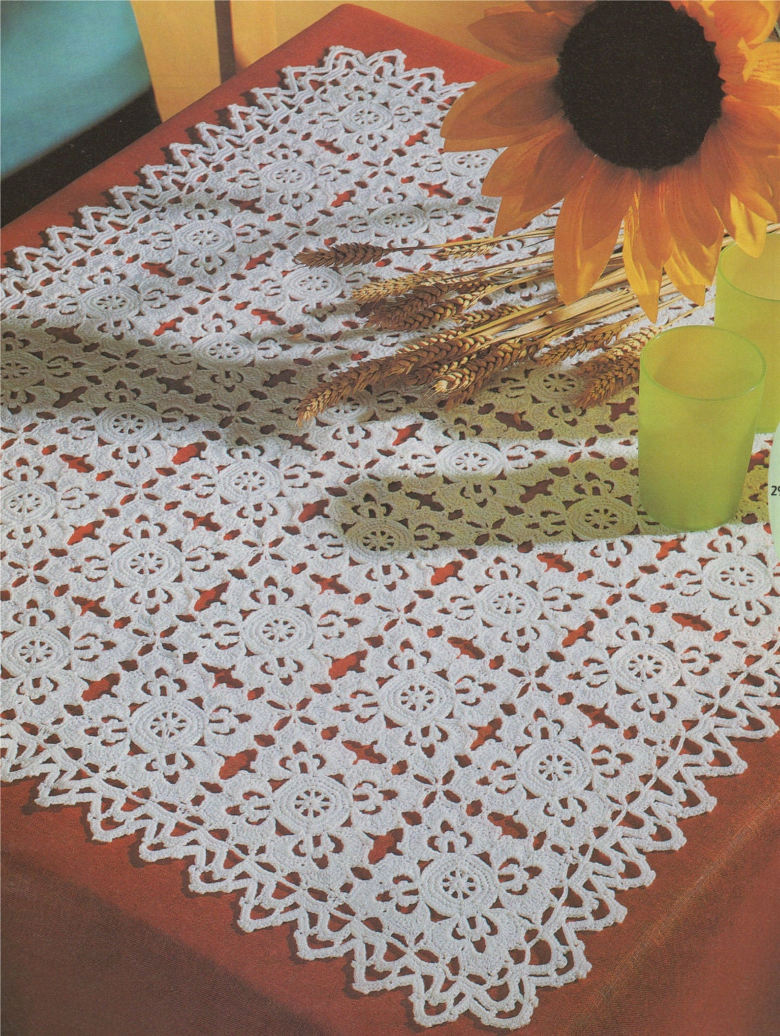 Square Doily Crochet Pattern Pdf Doily Table Mat Tray Cloth Small