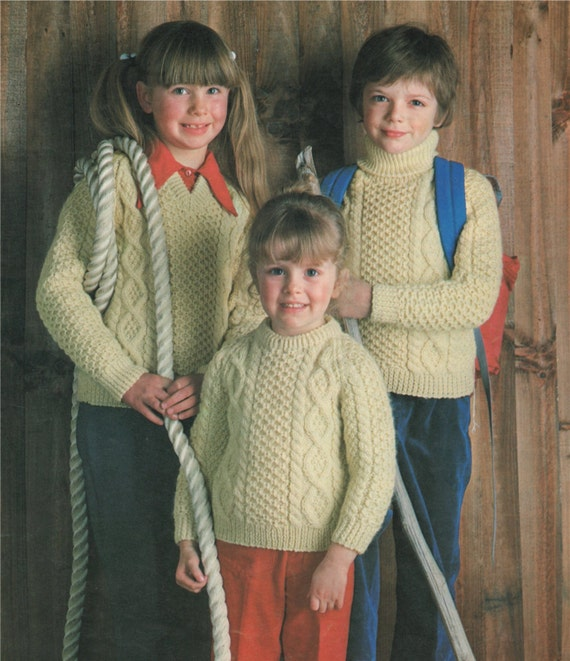 Aran Sweater Knitting Pattern Pdf Boys Or Girls 20 22 24 Etsy
