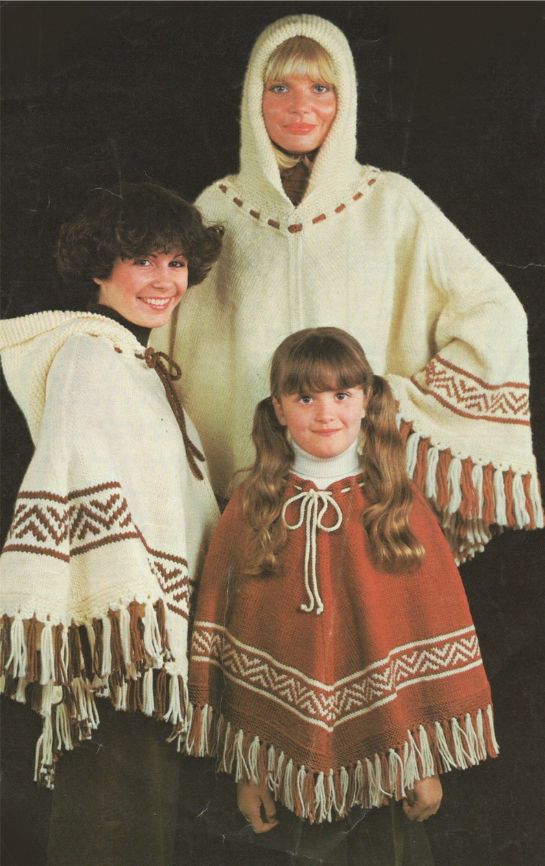 Vintage Knitting Patterns for Women 30-34 and 36-40 inch chest Fair Isle Hooded Poncho Knitting Pattern PDF Womens or Girls 24-28