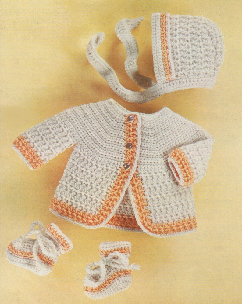 afebe41b09a7 Babys Crochet Pattern Matinee Coat Bonnet and Bootees PDF