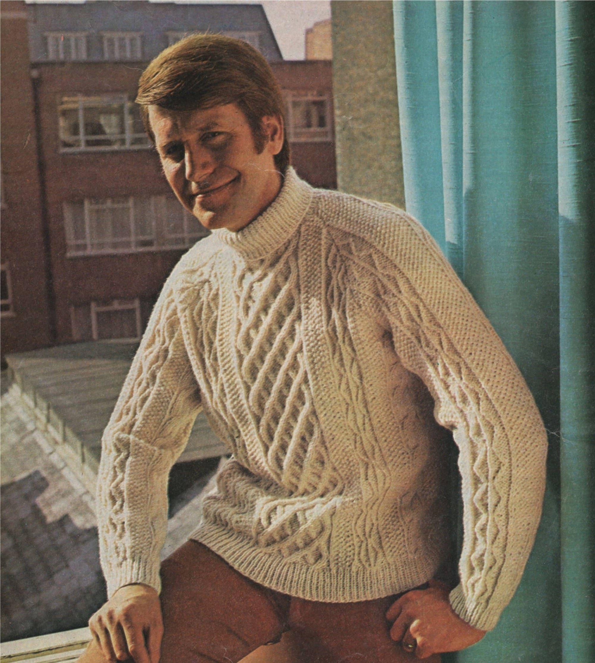 bc86a977e33539 Mens Aran Sweater Knitting Pattern PDF Mans 36