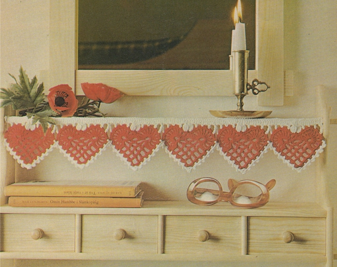 Hearts Bunting and Doily Crochet Pattern PDF for Valentines Day, Weddings, Engagements, Vintage Crochet Patterns for the Home . Download