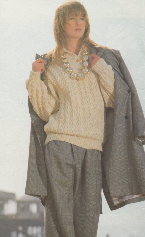 017f78613325 Womens Aran Sweater Knitting Pattern PDF Ladies 30