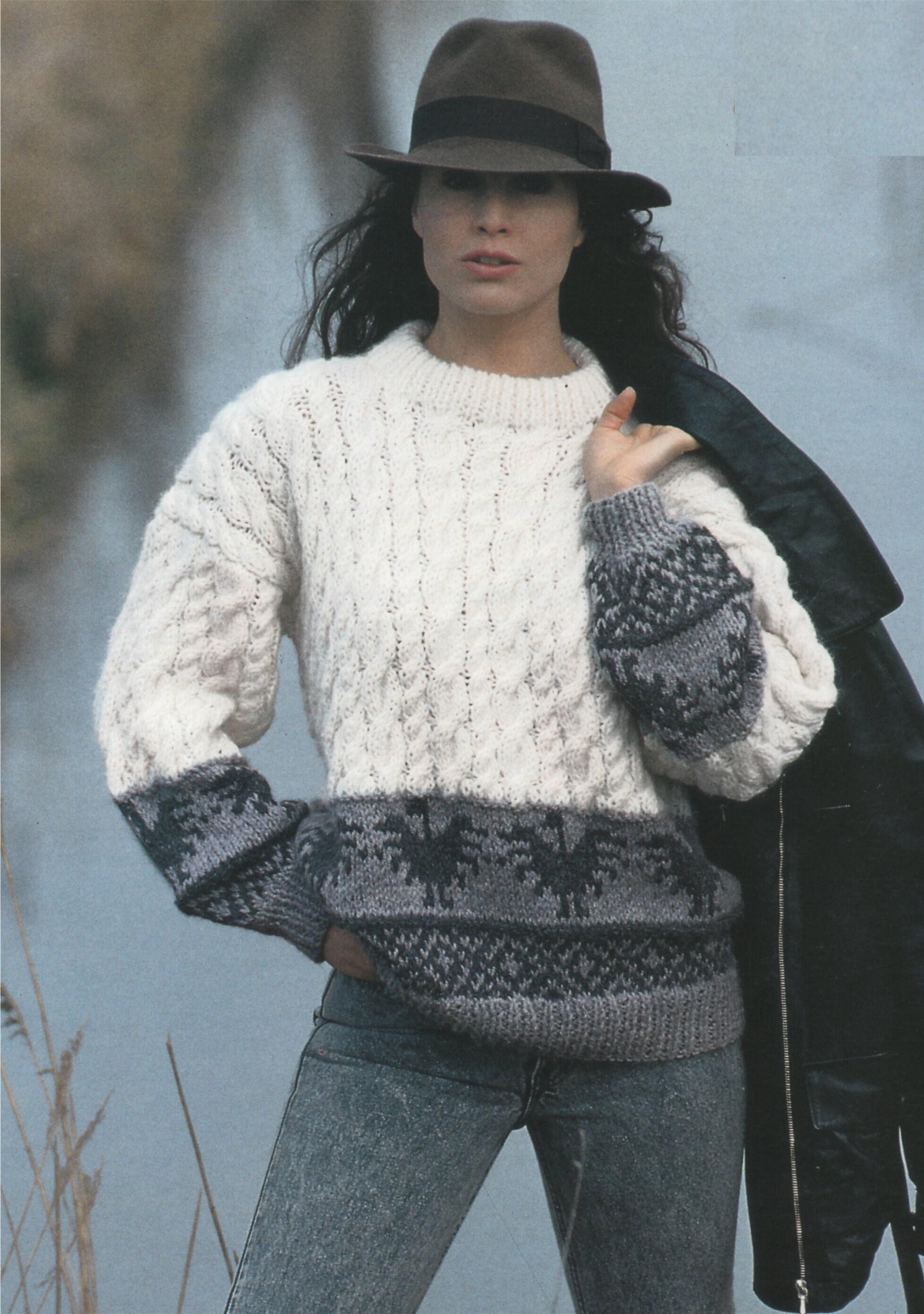c69b9bb34180f Cable and Fair Isle Sweater Knitting Pattern PDF Ladies 30 - 32