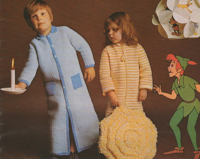 Childrens Dressing Gown Crochet Pattern PDF and Loopy Cushion, Boys or Girls 20, 22 and 24 inch chest, Housecoat, Robe, epattern Download