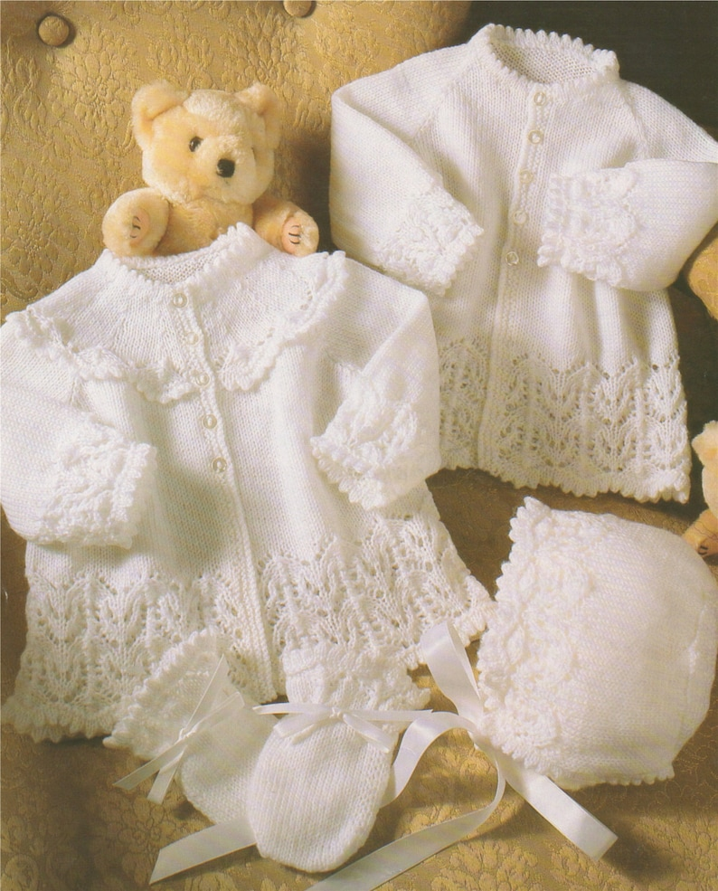 f0c29d705cf7 Babies Matinee Coat Bonnet and Mitts Knitting Pattern PDF