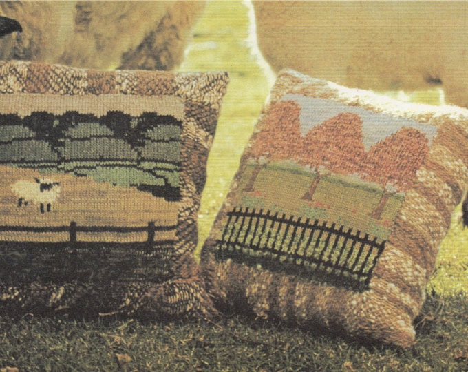 Cushion Knitting Pattern PDF Picture Panel, 2 Designs, Scenic, Sheep, Embellishment, Vintage Knitting Patterns for the Home, pdf Download