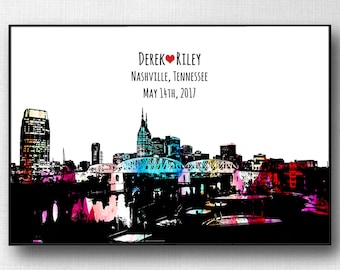Nashville wedding etsy nashville wedding guest book nashville poster personalized wedding gift anniversary gift nashville skyline guest book alternative tennessee negle Image collections
