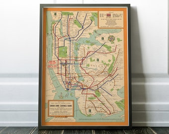 Old Map of New York City subway system, 1954 vintage subway map, antique map of subway, manhattan, brooklyn, queens, bronx retro nyc subway