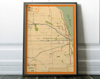 Retro Map of Chicago L train system, vintage style map of elevated train in Chicago, Old Town, Logan Square, red line, Chicago train map