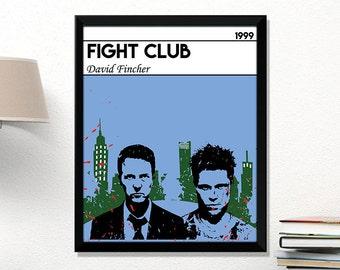 Fight Club poster Movie Poster Fight Club Print Minimalist movie print Art print Movies Brad Pitt Edward Norton Gift for movie fan Present