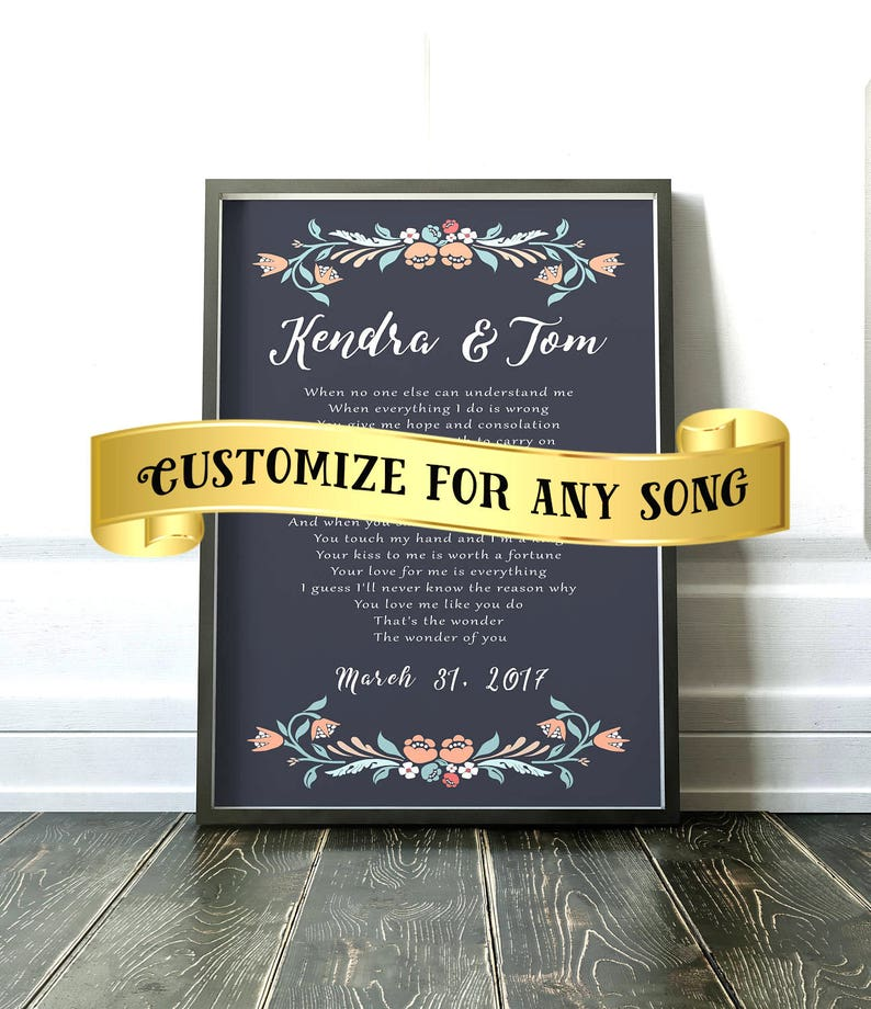 Anniversary Gift for her, Wife gift, gift for him, Wedding Song Lyrics,  Unique Anniversary Gift, The Wonder of You, Bridal Shower Gift
