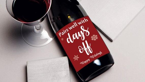 Coworker gift wine label Christmas gift for teacher for | Etsy