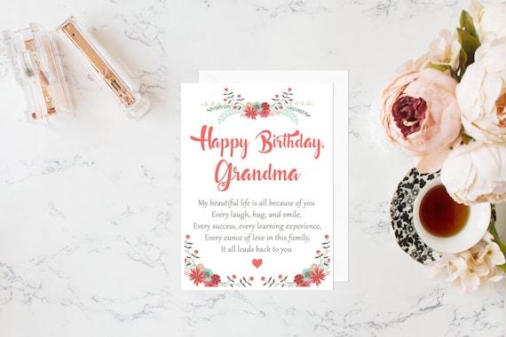 Grandma Birthday Card Birthday Card For Grandmother Gift For Etsy