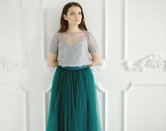 d08154b72f95 Mary Emerald Green Pistachio Lace Dress, Long Dark Green Grey Waterfall  Bridesmaids Skirt , Green Grey Engagement Prom Dresses Plus Size