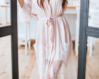 7b7eb008bff4 Tenderness Biscuit Blush Lux Bridal Robe, Silk Light Blush Bridal Robe,  Bridal Morning, Bridal Shower