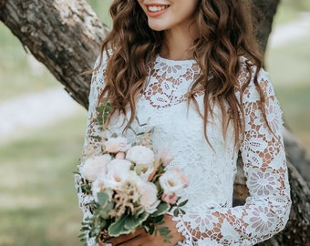 Chamomile Top, Macrame Boho Lace Bridal Top Long Sleeve with Silk Undertop, Engagement Lace Top available in Plus Sizes
