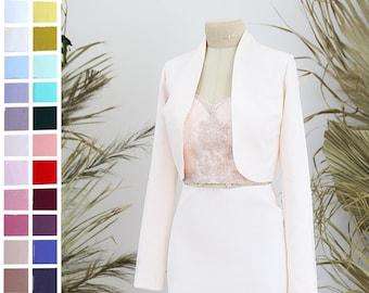 Bridal jacket, autumn or winter Bride coat, Crepe stretch ivory or white bride coat| Sydney wedding custom made jacket