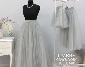 8e12471c0 Illusion Gray & Ivory Mix Ombre Long Tulle Skirt Casual Floor length Women, Tulle  Skirt Women Tulle Skirt, Wedding Long Tulle Skirt 5 layers