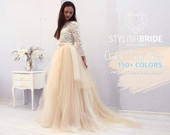 e15891c8e5 Magic Ombre Wedding Tulle Dress Train, Set Lace 003 Crop Top with Sleeves  and Tulle skirt long, Bridal Tulle Gown, Wedding Nude Tulle Skirt