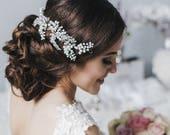 Wedding Pearl Hair Vine, Bridal Pearl Crystal Hair Vine, Bridal Pearl and Crystal Bohemian Hairpiece, Wedding Accessories