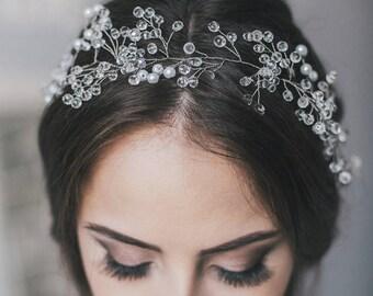 Wedding Crystal Hair Vine 45 cm, Wedding Pearl Crystal Hair Vine, Pearl Crystal Hair Vine, Bridal Crystal Hairpiece