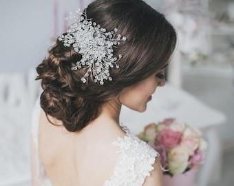 Wedding Crystal Hair Vine, Wedding Pearl Crystal Hair Vine, Pearl Crystal Hair Vine,Bridal Crystal Hairpiece, Bridal Crystal Hair Wreath