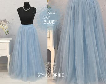 Sky Blue Princess Skirt Top Set Wedding Bridesmaid Dress Sky Blue #11 Tulle Skirt Blue Women Tulle Skirt Women Blue Skirt Bridal