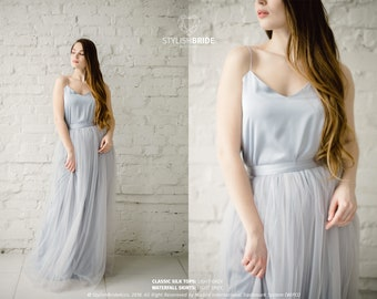 490f9277b1 Light Grey Classic Silk Bridesmaid Dress Tulle Skirt, Long Floor Grey  Length Waterfall Tulle Skirt, Prom Simple Grey Dress, Silk Cami Top