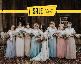 7b5ad9f58a7f Boho Bridesmaids separates, Rustic bridesmaids dresses, Belle Lace  Separates, Wedding Dress Set: Stylishbrideaccs Lace Crop Top Tulle Skirt