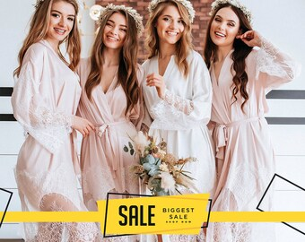 2fb08d4df099 Biscuit Blush Lux Bridesmaid Robes, /Tenderness/ Luxury Silk Bridal Robes,  Bridesmaid Gift, Personalized Robe - New collection 2019
