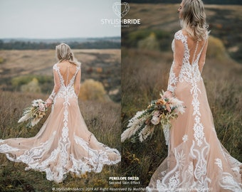 e98ed3828b29 Penelope Second Skin Effect Boho Wedding Dress with Nude Underlay