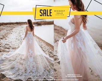 9d82e3b35cf Amore Blush Boho Wedding Dress with Gorgeous Lace Overskirt - 4 pieces set