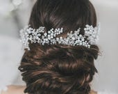 Wedding Crystal Hair Vine, Bridal Pearl Crystal Hair Vine, Bridal Crystal Hairpiece, Wedding Crystal Hair Wreath, wedding accessories