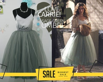 aca089fbf7f Carrie Bradshaw Ombré Tulle Skirt Leaf Green 7 Layers Super Puff exclusive  handmade layers