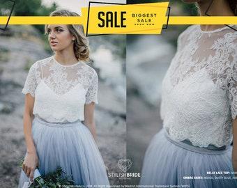 7d4950da2b1 Belle Buttoned back Wedding Lace Crop Top, White or Ivory Lace Crop Top Tops,  Engagement lace top plus size