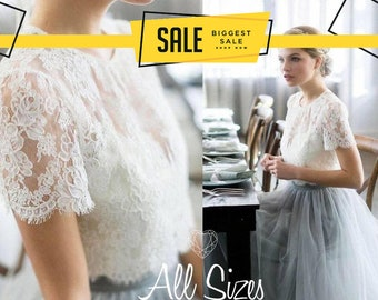 6a5b35dc89 Belle Dress Tulle Set Lace Crop Top with Sleeves and Tulle skirt long, Lace  Crop Top, Bridesmaids Dress, Tulle Blush Pink Blue Grey Skirt