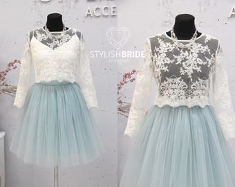 0831b93715 Short Dusty Blue Belle Dress Tulle Set Lace Crop Top with Sleeves and Tulle  skirt long, Short version prom lace dress