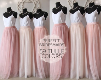 Bridesmaids Dress Tulle Skirt Long Floor Length Womens Women Wedding Blush Pink Ivory