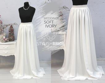 b89a368153e7 Ivory Wedding Simple Skirt, Bridesmaids Flame Chiffon Skirts, Bridal Chiffon  Skirt Bridal, Women Chiffon Skirt, Bridesmaid Ivory White skirt