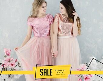 c15a13b3cfd2 Blush Sequin Bridesmaids, Tulle Dress for Bridesmaids in Rose Gold and Blush  Sequin Top, Prom Sequin Dress Plus Size