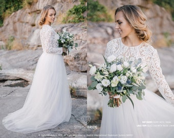 c26b74df4f370 Alice Lux Wedding Lace Dress, Stylish Engagement Simple Lace Dress, Prom  Dress Plus Size, White Ivory Tulle Bridal Lace Dress